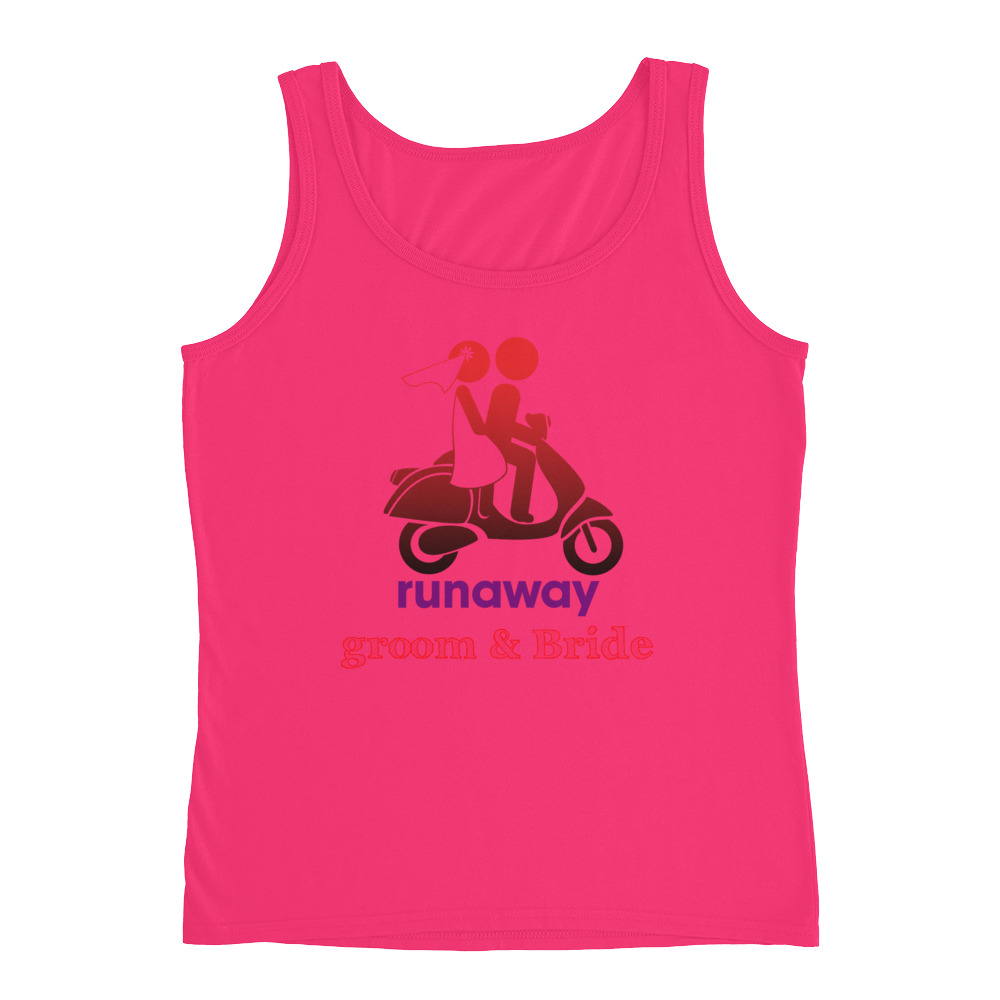 98770a415237d Runaway Groom   Bride Graphic Ladies  Tank - Preteeful Shirts And More