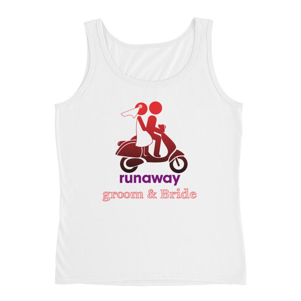 2950457c43210 Runaway Groom   Bride Graphic Ladies  Tank